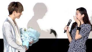 映画「雪の華」の公開記念舞台あいさつが行われ、主演の登坂広臣、中条...