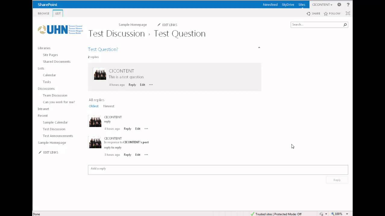 How to use a Discussion Board (Sharepoint 2013)