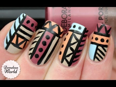 Aztec Tribal nails for Deborah Milano