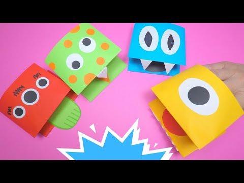 Halloween Craft Idea   How to Make a Paper Monster Puppet