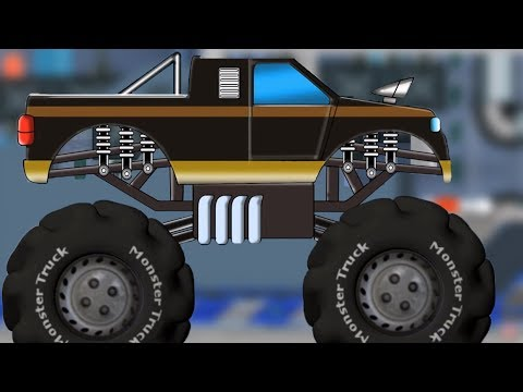 Police Monster Truck Car Repair & Service Car Garage Video For Children's
