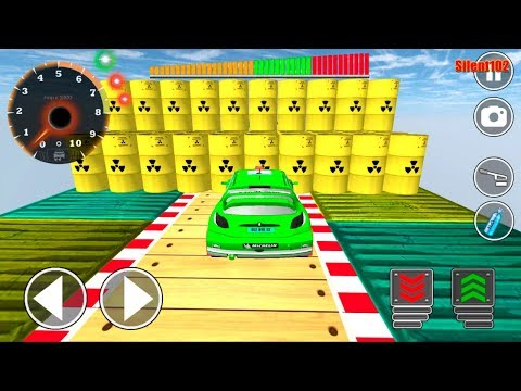 Impossible Mega Ramp Green Sports Car Stunt Drive #3 - Android Gameplay