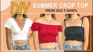DIY SUMMER CROP TOP from old T shirt - Wrap top - Off the shoulder top - Ruffle hem top