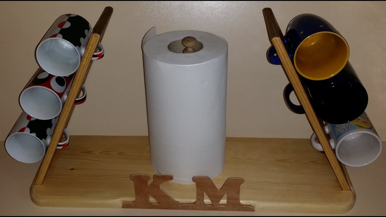 Personalized cup/mug holder - My first woodworking project - YouTube