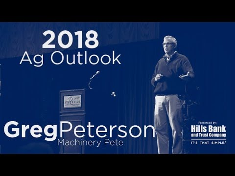 Greg Peterson (Machinery Pete) speaks at Hills Bank Ag Outlook 2018