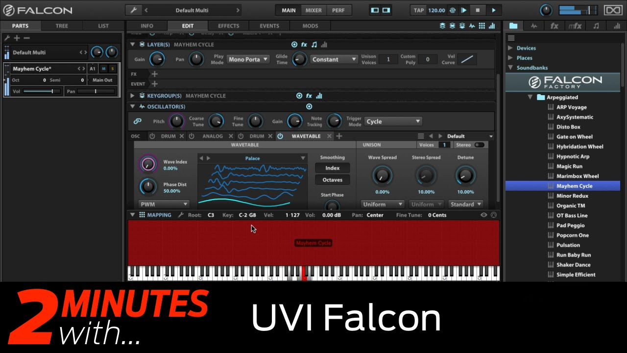 uvi falcon vst au plugin in action youtube. Black Bedroom Furniture Sets. Home Design Ideas