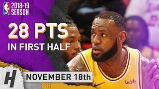 LeBron James Full Highlights Lakers vs Heat 2018.11.18 - 28 Pts, 3 Rebounds in First Half!