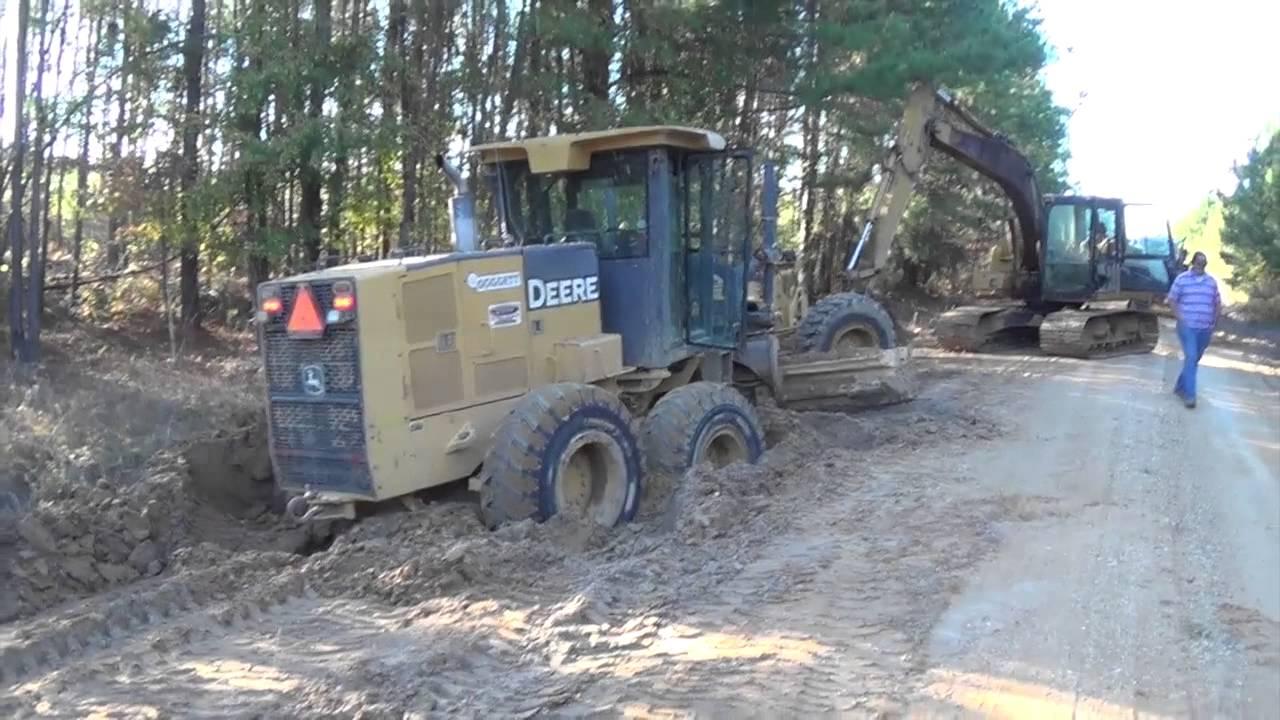 Stuck Motor Grader Excavator To The Rescue Trackhoe