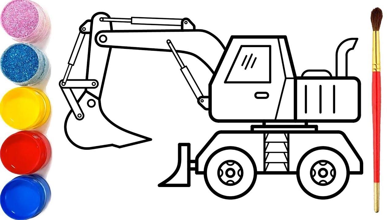 Vẽ xe xúc xe ủi đơn giản và tô màu cho bé | Bé học vẽ |Cara Menggambar dan Mewarnai Mainan Excavator