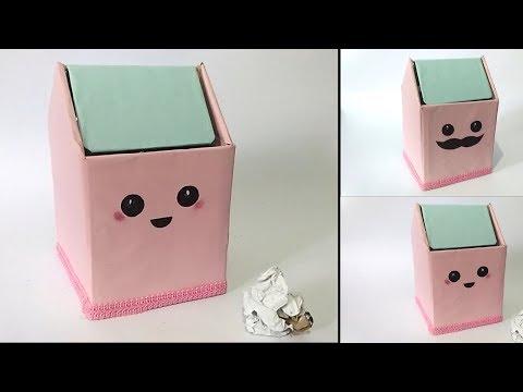 Cara Membuat Tempat Sampah Mini Dari Kardus Bekas || Ide Kreatif Barang Bekas.