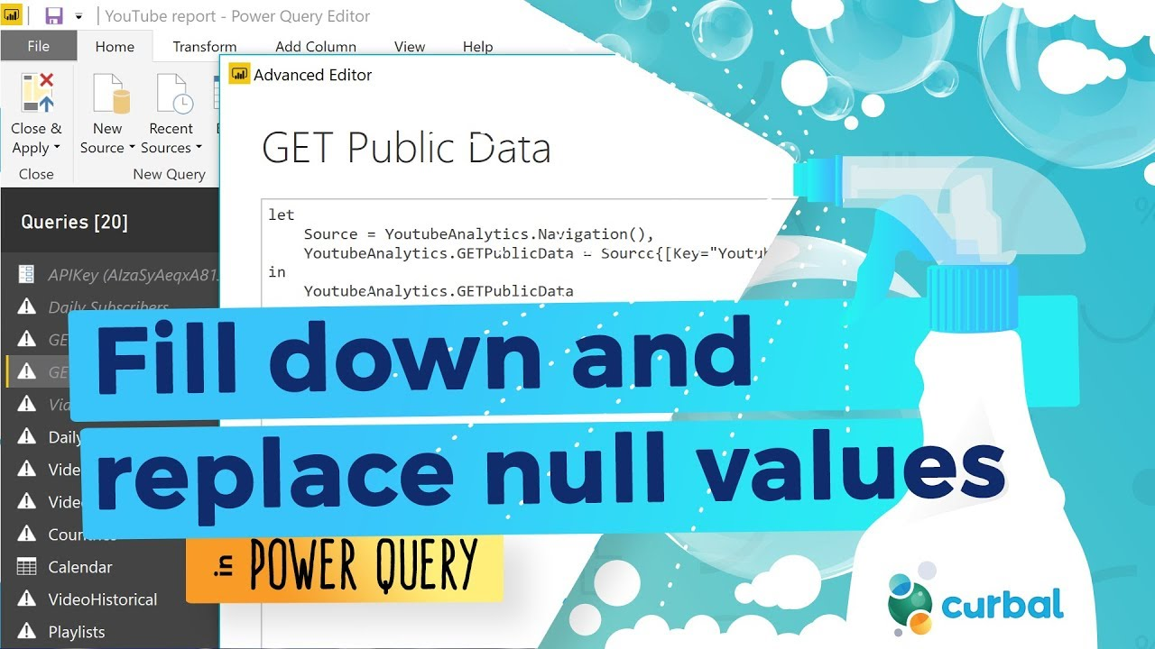 Fill down and replace null/blank values in Power Query