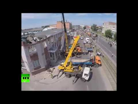 Беспилотник заснял здание с обрушившейся крышей в Кемерово