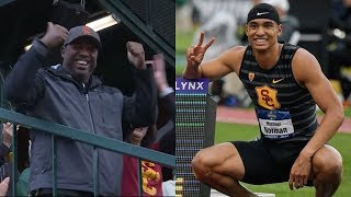 Michael Norman's dad, Mike, gets mic'd up for 400-meter dash: 'He got the record!'