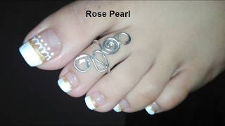 White French Lace Toe Nail Art Tutorial: Wedding Pedicure | Rose Pearl