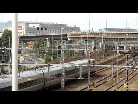 Trainspotting in Stockholm. Heavy traffic (Tågspotting i Stockholm) HD 1080p
