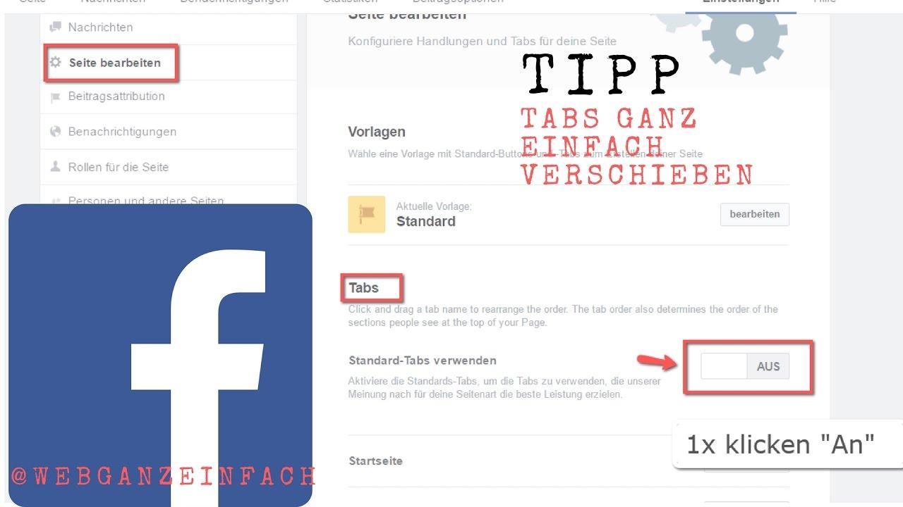 Facebook-Tabs-verschieben - Reiter neu anordnen - YouTube