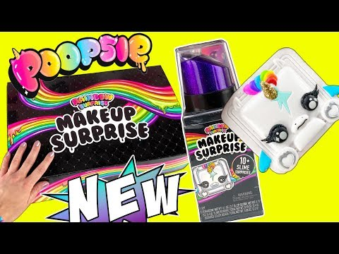 NEW DIY POOPSIE SLIME Rainbow Surprise Makeup Slime! Mixing Makeup Into Slime / Eyeshadow + Lipgloss