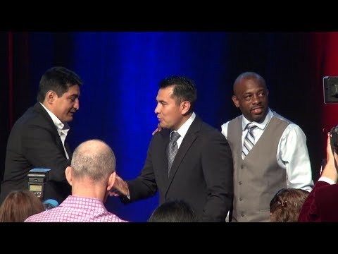 Marco Antonio Barrera inducts Erik Morales into the Nevada Boxing Hall of Fame