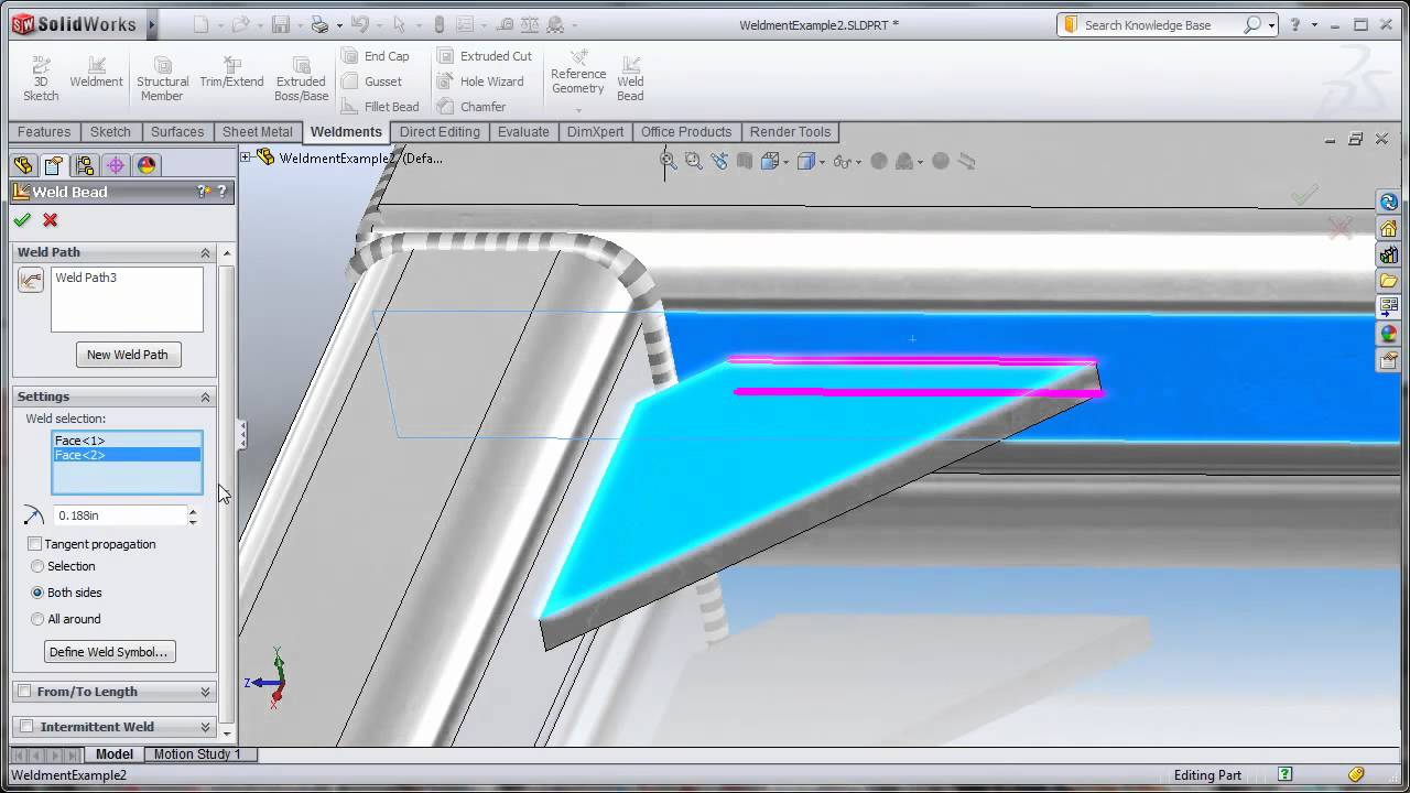 Solidworks 2011 Weld Bead Part 1 Youtube
