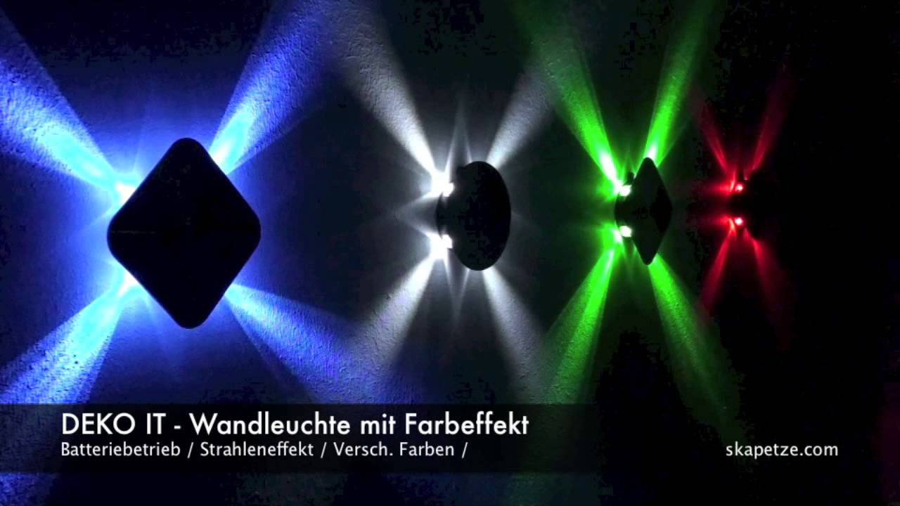 deko it led wandleuchte mit strahleneffekt batteriebetrieb youtube. Black Bedroom Furniture Sets. Home Design Ideas