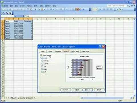 Creating A Gantt Chart In Microsoft Excel 2003 Youtube