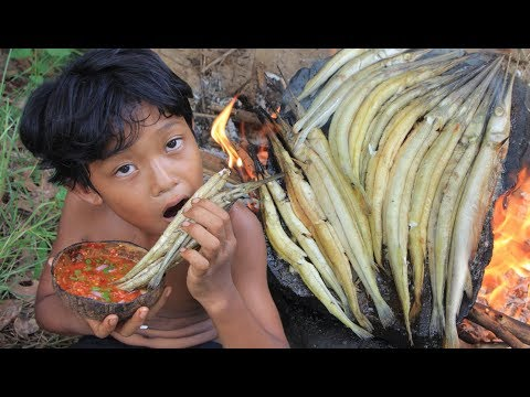 Primitive Technology - Find and cooking fish on a rock - eating delicious