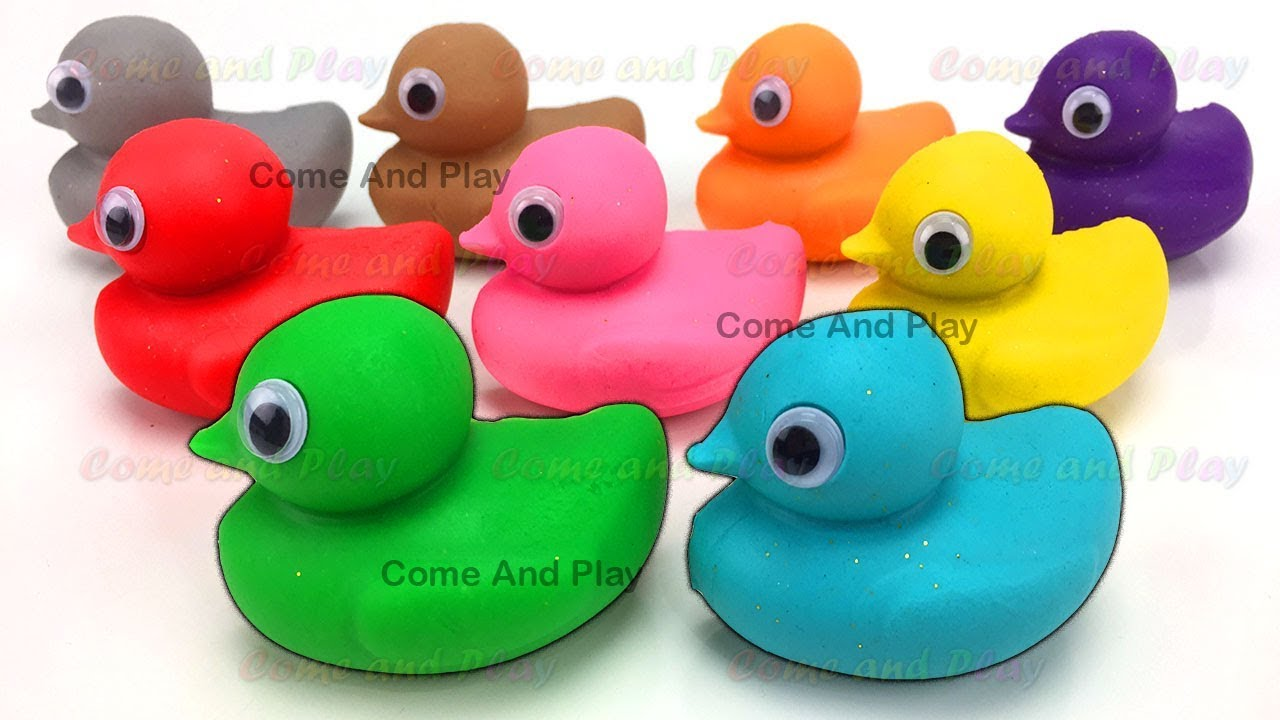 Learn Colors with Play Doh Ducks and Clay Foam Surprise Toys - YouTube