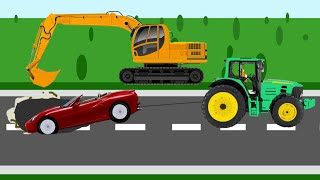 Мультики про машинки - Экскаватор и трактор. Развивающий мультфильм для детей(Это развивающий мультик про машинки, в котором машина попала в яму, вырытой экскаватором. Трактор помог..., 2014-10-22T18:42:58.000Z)