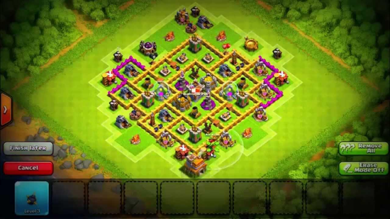 Th7 farming base no barbarian king youtube