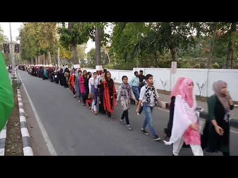 AMU girls Human Chain || Human Chain for not completed all Demands
