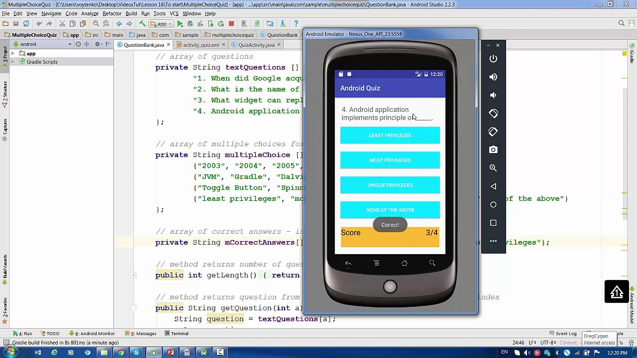 Lesson16 Android - Multiple Choice Quiz : save result in SharedPreferences