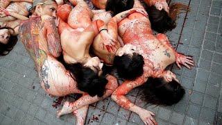 محتجون يتظاهرون عراة في برشلونة ضد استعمال جلود الحيوانات وفروها…