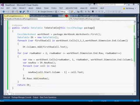 How to read excel file using Epplus in asp net mvc - YouTube