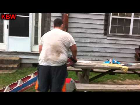 Trampoline Wrestling: KBW- BAMA KID vs. The BULLDOZER Career vs. Streak