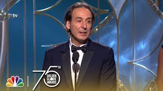 Composer Alexandre Desplat accepts the award for Best Original Score at the 75th Annual Golden Globe Awards. » Subscribe for More: http://bit.ly/NBCSub ...