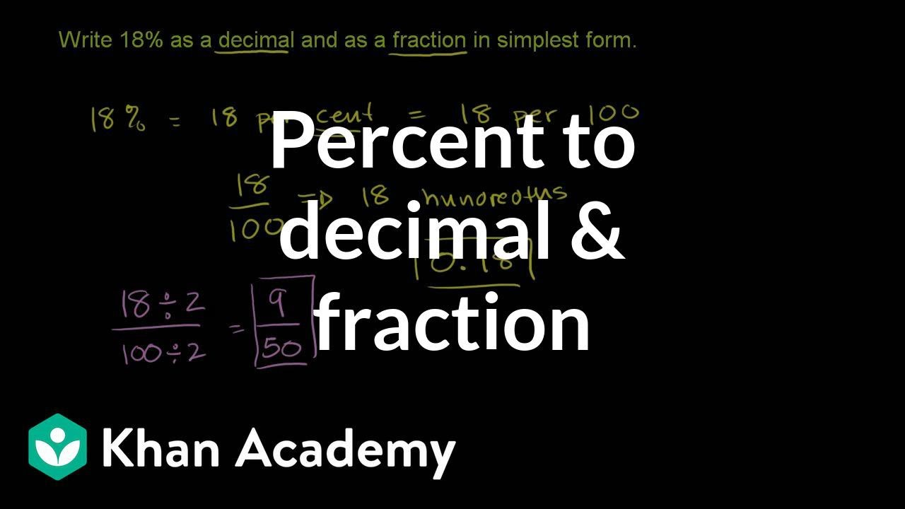 simplest form in spanish  Converting percents to decimals & fractions example (video ...