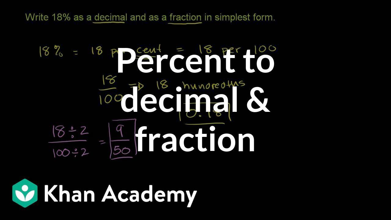 Converting percents to decimals \u0026 fractions example (video)   Khan Academy [ 720 x 1280 Pixel ]