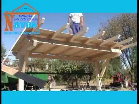 Porche de madera para cochera youtube for Como hacer un techo economico
