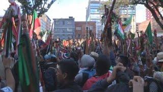 Músicos dan bienvenida en Bogotá a indígenas que apoyan protestas nacionales
