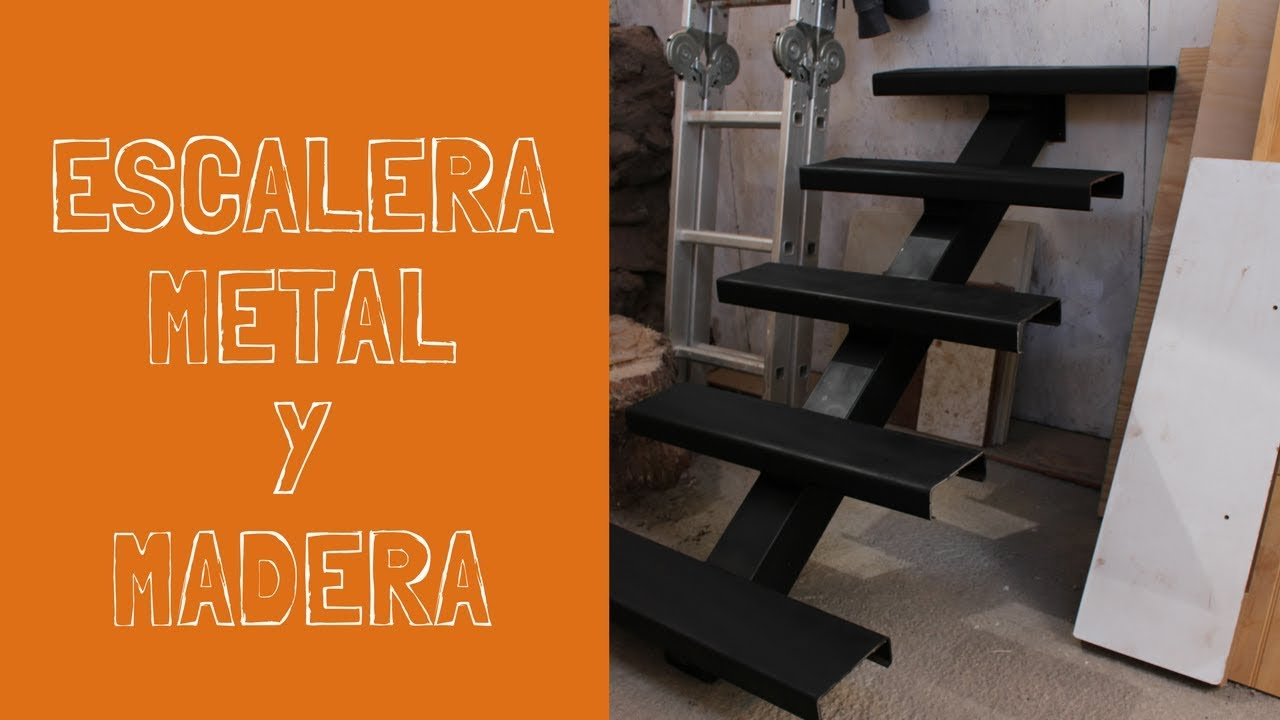 Construcci n escalera metal y madera parte 1 youtube for Escaleras metal madera para interiores