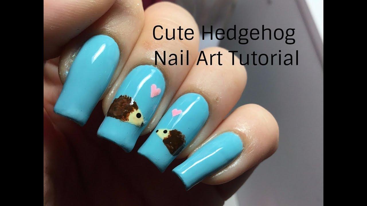Cute Hedgehog Nail Art Tutorial Simple Animal Nail Art Youtube