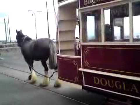 Isle of Man Transport:Double Decker Horse Tram arriving at Douglas Isle of Man .MP4