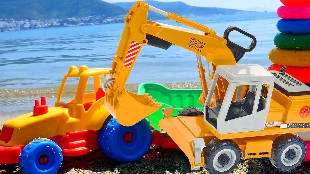 Ein tag am meer mit spielzeugautos farben lernen für
