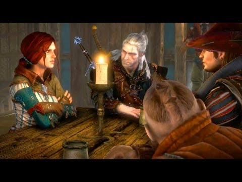 Geralt, Triss, Zoltan and Dandelion Gather at Flotsam Inn (Witcher 2)