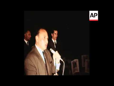 SYND 4-7-70 GLAFKOS KLERIDES, LEADER OF CYPRUS' UNITED PARTY, ADDRESSES A RALLY IN PREPARATION FOR T