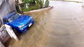 Typhoon Wipha flooding streets and high winds hitting Tokyo Japan