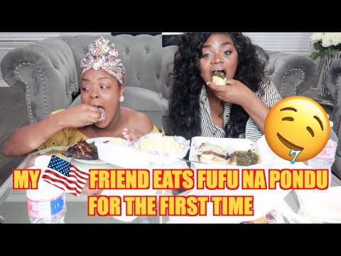CONGOLESE FOOD MUKBANG| MY AMERICAN FRIEND EATS FUFU NA PONDU| EATING SHOW