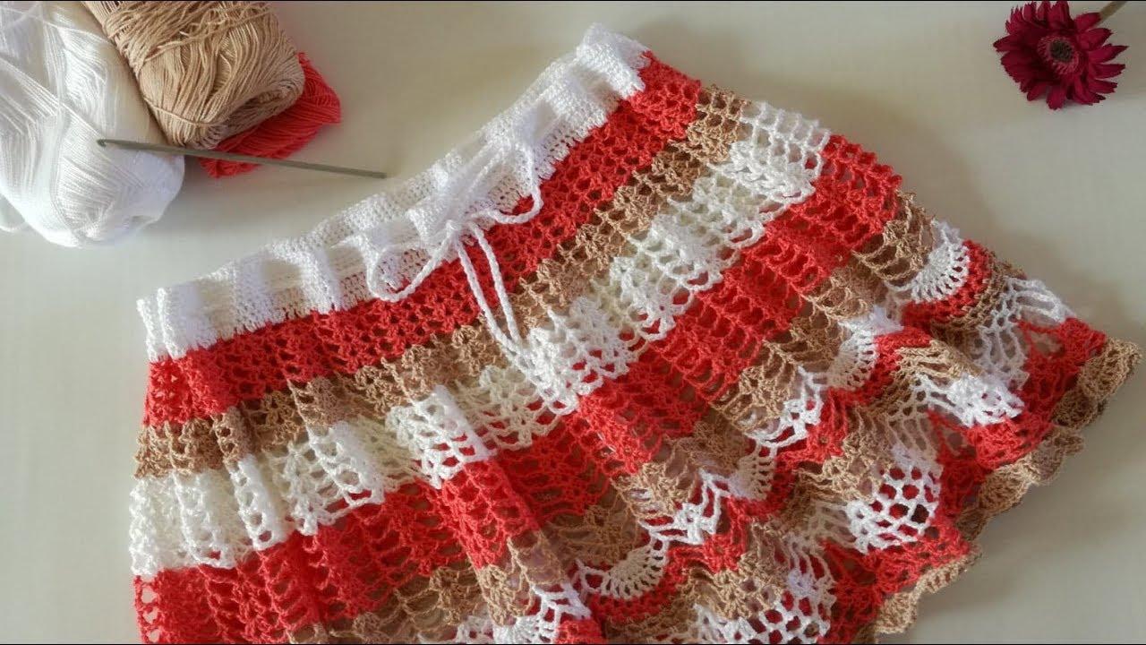 737683d63 FALDA MOTIVOS DE PIÑA Tejida a Crochet (1ra Parte)