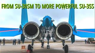 """POWERFUL TRANSITION! The Best Aerobatic Team In The World """"Russian Knights"""" Gets 4 New Su-35S Jets"""