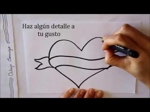 Cómo dibujar un Corazón con Letrero Dibuja Conmigo Dibujos de Amor